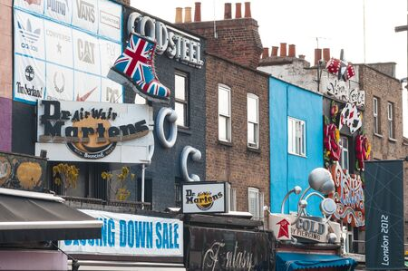 Camden Town, England - September 12 2012 - The colorful three-dimensional signs of Camden Town in London, near Camden Lock