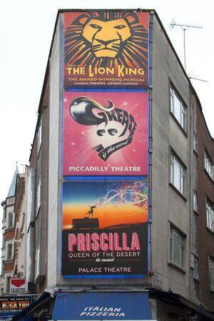 London, Uk - January 26, 2011 - Billboards of London musicals on a building in Leicester Square