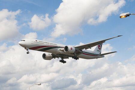 London, Uk - August 03, 2013 - Bangladesh ailines Boeing 777 lands at Heathrow Airport