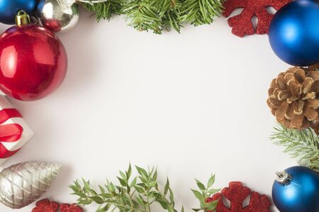 Unusual christmas background with decorations and big white space for text