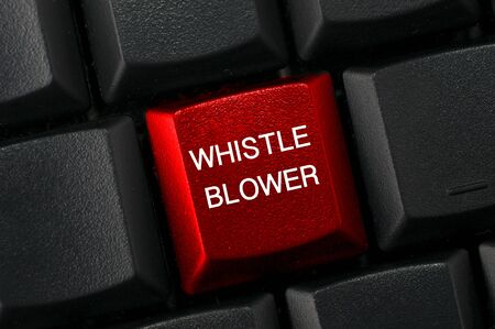 Whistleblowing concept: Black keyboard with a red key and the whistleblower word Reklamní fotografie
