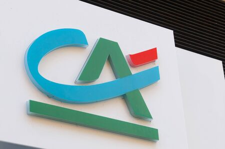 Carrara, Italy - August 4, 2019 - The logo of the French bank Crédit Agricole, who recently bought some Italian banks Redakční