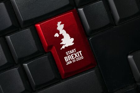 Brexit concept: a black computer keyboard with the United Kingdom shape and the text: start Brexit January 31, 2020 Standard-Bild - 138444010