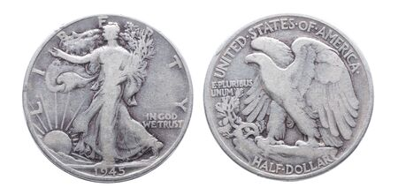Silver walking liberty 1945 half dollar isolated on white background