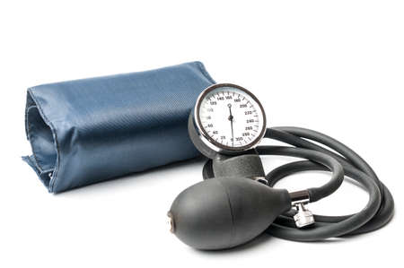 Aneroid sphygmomanometer to measure blood pressure isolated on white background