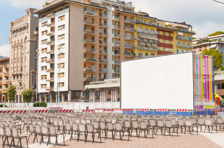 La Spezia, Italy - July 23, 2020 - An outdoor movie theater during the summer of the coronavirus in Italy