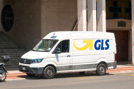 La Spezia, Italy - July 23, 2020 - A GLS (general logistics systems) express courier van parked in the city during a delivery