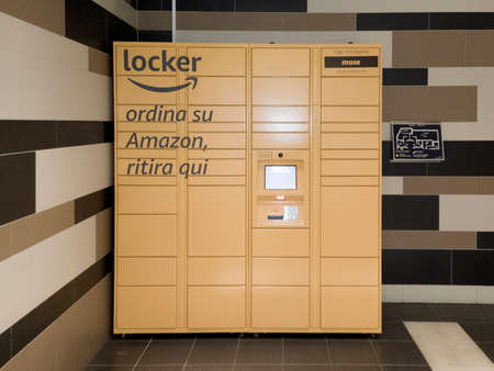 La Spezia, Italy - July 27, 2020 - An Amazon Locker inside an Italian mall. This service is used to pick up orders made on the online marketplace