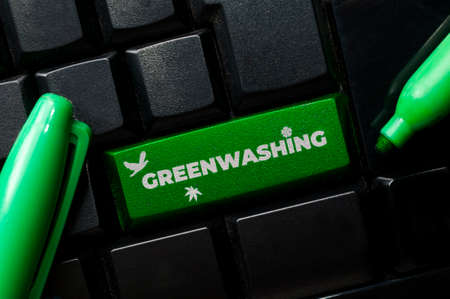 Greenwashing is a communication technique aimed at building a false image of a company in terms of environmental impact Stockfoto