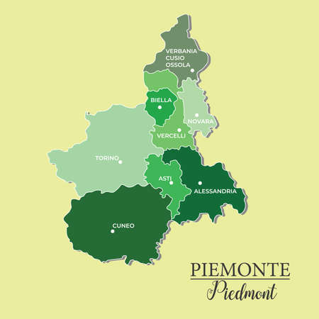 Piedmont vector map divided into provinces