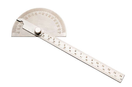Metal protractor angle finder isolated on white background