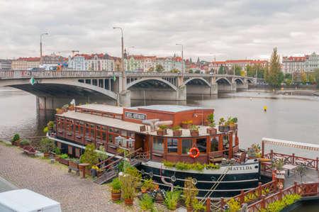Prague, Czech Republic - October 22, 2014 - The floating hotel and restaurant