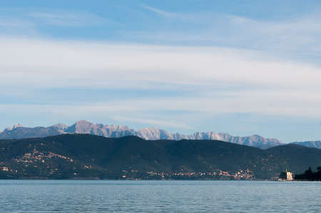 The Apuan Alps photographed from Portovenere, La Spezia inside the Gulf of Poets