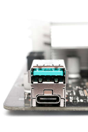 Usb 3.1 type-a and type-c ports on a computer motherboard on white background