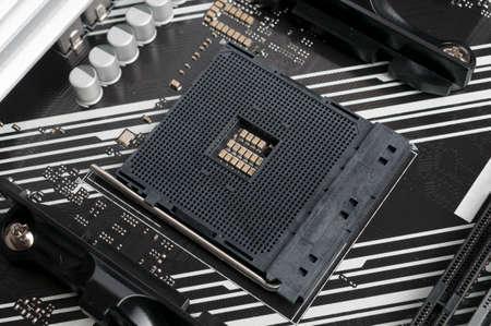 Chipset socket on a computer motherboard close-up shot