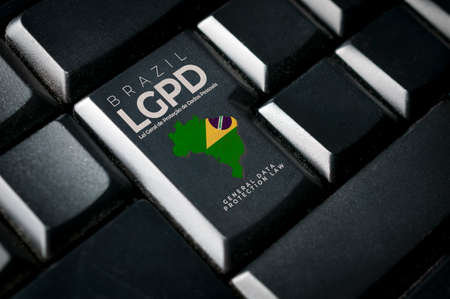 LGPD (brazilian data protection law) concept: a black computer keyboard with Brazil flag and the text Brazil LGPD lei geral de proteção de dados pessoais general data protection law