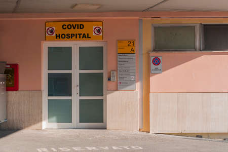 Pisa, Italy - March 10, 2021 - The main entrance of a Covid Hospital in Pisa, Italy 에디토리얼