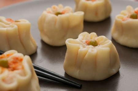 Chinese shrimp dumplings platter (shao mai or siu mai)