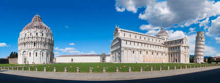 Extremely wide panorama of the Piazza dei Miracoli in Pisa, with the leaning tower, the cathedral and the baptistery
