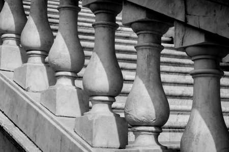 Italian style old marble banister, black and white