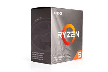 Carrara, Italy - April 07, 2021 - AMD Ryzen series 3 processor box isolated on white background