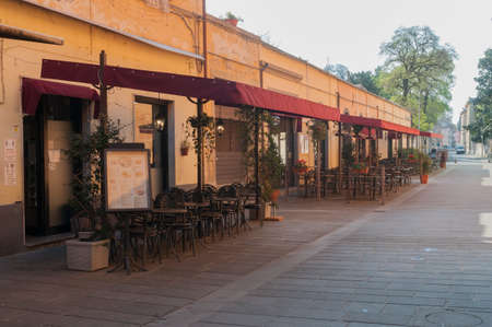 Pisa, Italy - April 09, 2021 - Cafes and restaurants closed due to the Covid-19 coronavirus outbreak