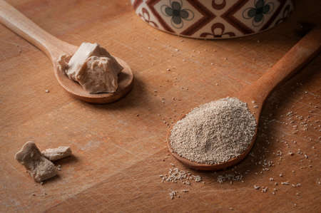 Fresh yeast and instant dry yeast on wooden spoon on a wood cutting board