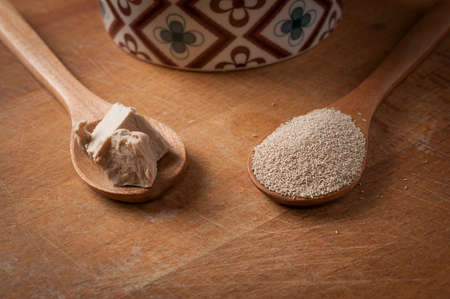 Teaspoon of fresh yeast and instant dry yeast on wooden on a wood cutting board