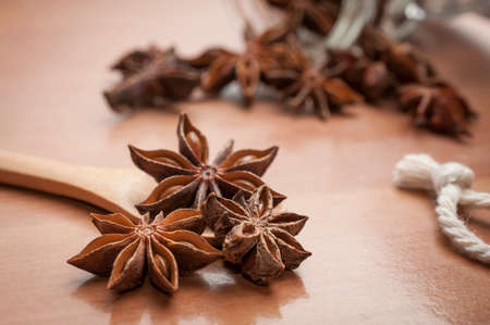 Some star anise seeds and fruits on wooden spoon