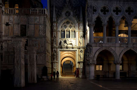 ducale: VENICE - MAY 22, 2016 - Entrace of Palazzo Ducale in Venice at night, on may 22, 2016. Palazzo Ducale was the palace of the venetian Doge and now is a museum