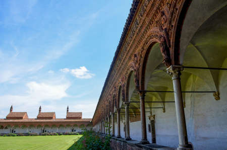 chartreuse: PAVIA, ITALY - JUNE 12, 2016 - The cloister of the chartreuse of Pavia on june 12, 2016. The chartreuse is an important example of renaissance religious architecture Editorial