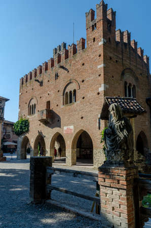 piacenza: PIACENZA, ITALY - AUGUST 14, 2016 - Grazzano Visconti town hall, near Piacenza, Italy, on august 14, 2016.