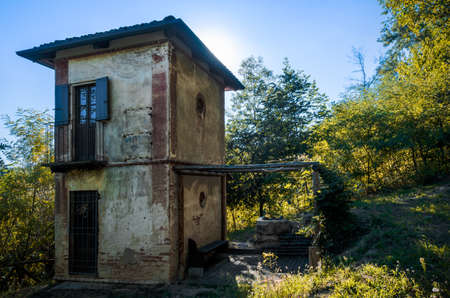 Abandoned ciabot, typical of the Langhe and Roero vineyards toolshed, Italy