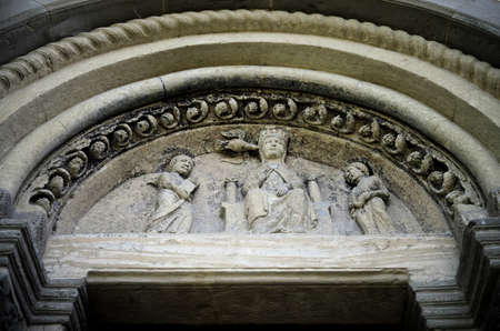 abbazia: Abbazia di Vezzolano, example of romanesque architecture in Piedmont (Italy): detail of the sculptures of the facade