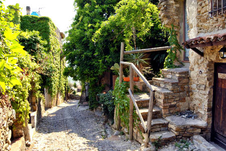 renovated: Historic alleys of Bussana Vecchia (Liguria, Italy), abandoned and renovated village of artists
