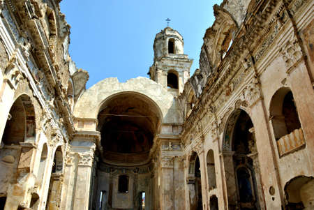 Saint Giles Church in Bussana Vecchia (Liguria, Italy), abandoned and renovated village of artists