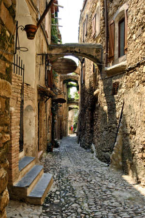 Historic alleys of Bussana Vecchia (Liguria, Italy), abandoned and renovated village of artists