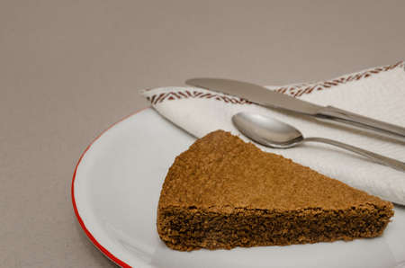 Torta di Nocciole, traditional hazelnut cake made with Nocciola Piemonte Igp (also known as Tonda Gentile di Langa), typical hazelnut variety of Piedmont, Italy