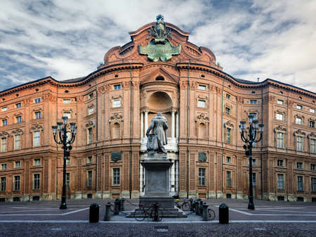 Piazza Carignano, one of the main squares of Turin (Italy) with Palazzo Carignano, historic baroque palace and first italian parliament