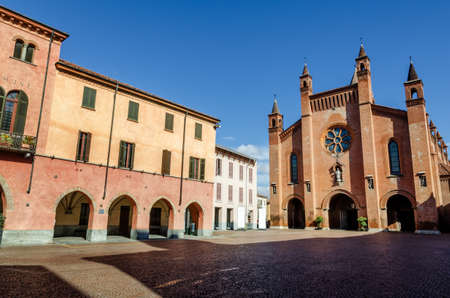 Piazza Risorgimento, main square of Alba (Piedmont, Italy) with Saint Lawrence cathedral Stock Photo