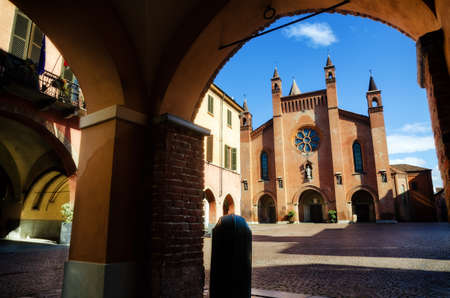 Piazza Risorgimento, main square of Alba (Piedmont, Italy) with the facade of Saint Lawrence Cathedral Stock Photo
