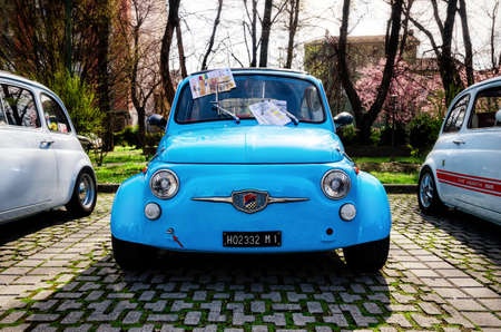 ALBA, ITALY - MARCH 19, 2017 - Old Fiat 500 Abarth during a classic car rally in Alba (Piedmont, Italy), on march 19, 2017 Editorial