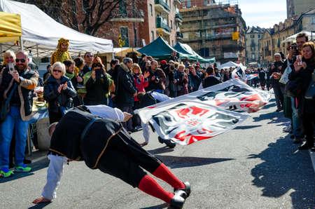 TURIN, ITALY - FEBRUARY 26, 2017: Historical carnival parade of Balon, in Borgo Dora, Turin (Italy) on february 26, 2017 Editöryel