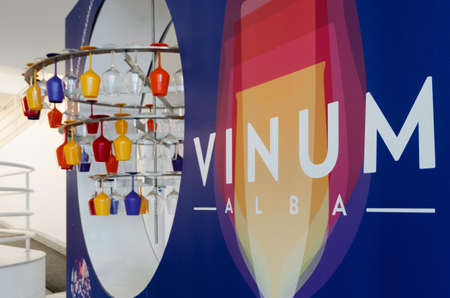 chalices: ALBA, ITALY - APRIL 22, 2017 - The logo of Vinum, wine e food show event of Alba (Italy), on april 22, 2017 Editorial