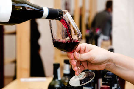 Tasting experience with a glass of Barolo wine in Alba (Piedmont, Italy) Stock Photo