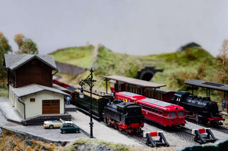 close up of a detailed train model diorama
