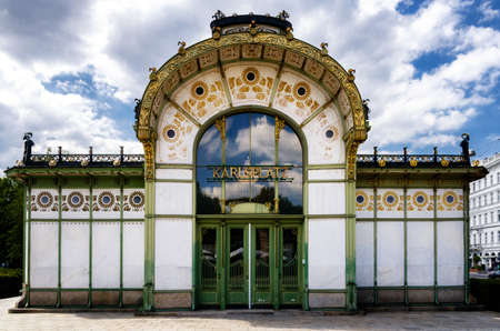 Karlsplatz Stadtbahn Station in Vienna (Austria), old subway pavillon of XIX century jugendstil architecture