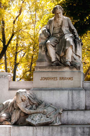 Vienna, monument in memory of the music composer Johannes Brahms in Karlsplatz Stock Photo