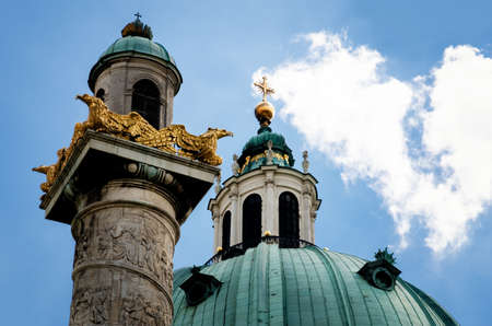 innere: Detail of the columns and of the dome of the Karlskirche (Saint Charles Church) in Vienna, Austria, seen from Karlsplatz