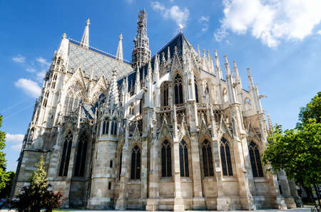 Exterior view of the famous neo gothic Votivkirche (Votive Church) in Vienna, build by archduke Ferdinand Maximilian after the failed assassination attempt of his brother, Emperor Franz Joseph